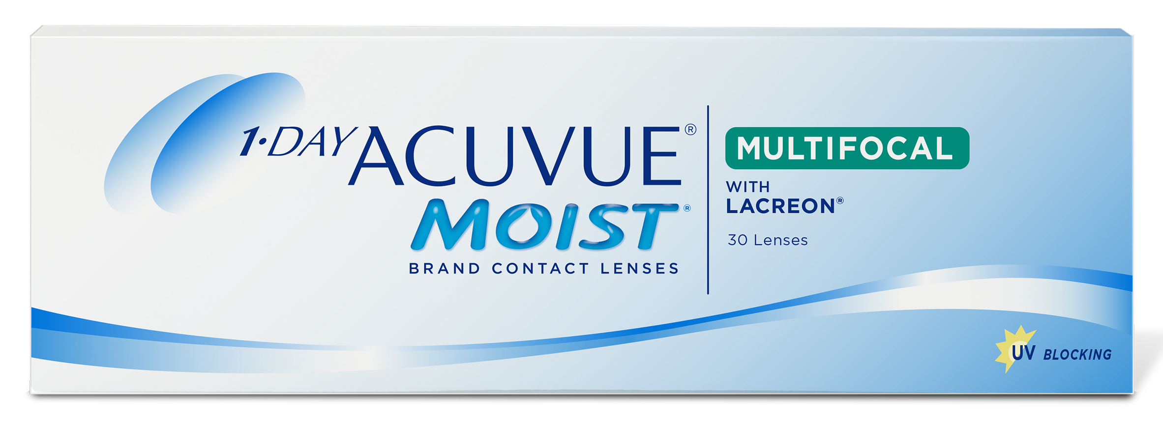 A pack of 1-Day ACUVUE® MOIST MULTIFOCAL contact lenses