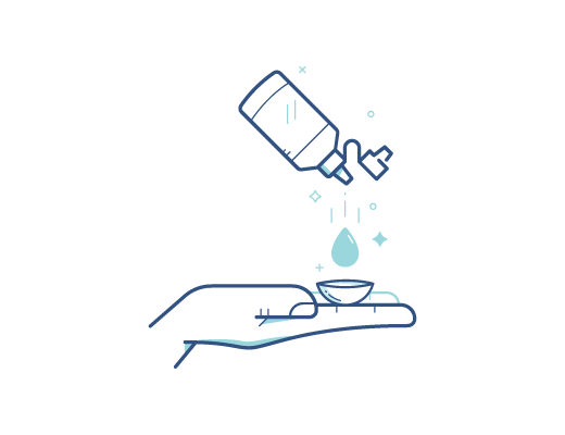 Disinfecting the contact lens with contacts solution