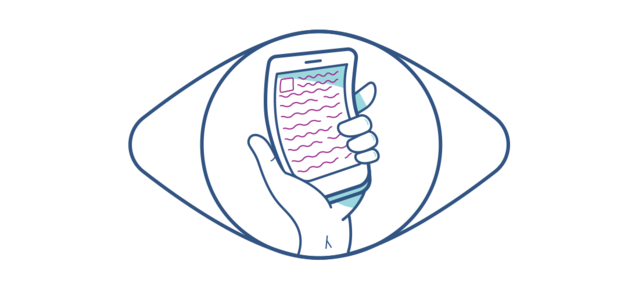 Illustration of a distorted mobile phone seen through an eye